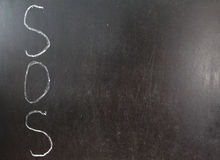 SOS. Word written left Vertically with white chalk on a blackboard stock image