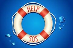 SOS written on Lifebouy royalty free illustration