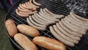 Sosages e pane della griglia sul picnic video d archivio