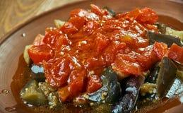 Soslu patlican. Turkish cuisine, Tomato sauce with eggplant Stock Images