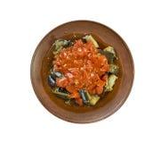 Soslu patlican. Turkish cuisine, Tomato sauce with eggplant Stock Photos