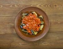 Soslu patlican. Turkish cuisine, Tomato sauce with eggplant Royalty Free Stock Photography