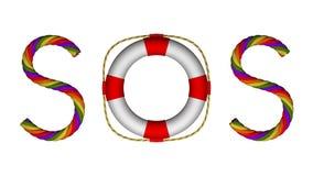 SOSmorsealfabettecken för sökande räddningsaktion eller hjälp Fotografering för Bildbyråer
