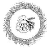 Sosna Bożenarodzeniowy wianek i nowy rok zabawkarska piłka Atrament ilustracja zdjęcie royalty free