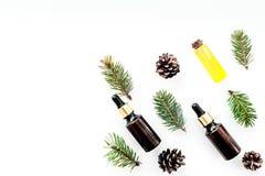 Sosna istotny olej w butelkach na białej tło odgórnego widoku kopii przestrzeni Wzór z sosna rożkiem i gałąź Obraz Stock