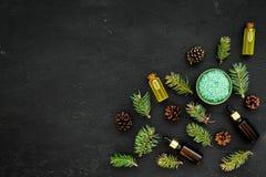 Sosna istotny olej w butelkach na ciemnej tło odgórnego widoku kopii przestrzeni Wzór z sosna rożkiem i gałąź Obrazy Stock