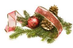 Sosna Konusuje, boże narodzenie ornamenty, Czerwony faborek i sosna Rozgałęzia się dalej Fotografia Stock