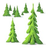 Sosna set Drzewa różny rozmiar zdjęcia stock