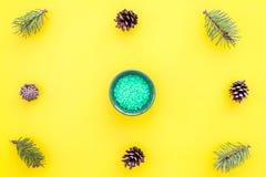 Sosnowi zdrojów kosmetyki, produkty dla skóry opieki Zielona aromatyczna zdrój sól blisko rozgałęzia się i konusuje na żółtym tło Zdjęcia Stock