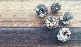 Sosnowy kwiat na drewno stole Zdjęcie Stock