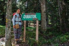 Sosnowy las Durmitor park narodowy w Montenegro Dziewczyny backpacker turysty stojaki obok pointeru parka zdjęcia stock