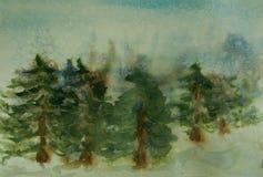 Sosnowy las na zima sezonie z śnieżnym spadkiem royalty ilustracja