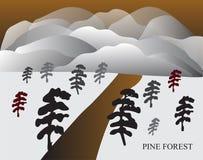 Sosnowy las w Japońskim stylu z górą Obraz Royalty Free