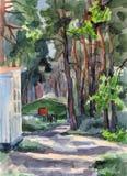 Sosnowy las z domami Zdjęcie Stock
