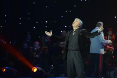 Soso Pavliashvili. MOSCOW, RUSSIA - FEBRUARY 27, 2014: Soso Pavliashvili - popular Georgian and Russian singer and actor.  Concert in the State Kremlin Palace Stock Photo