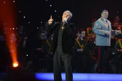Soso Pavliashvili. MOSCOW, RUSSIA - FEBRUARY 27, 2014: Soso Pavliashvili - popular Georgian and Russian singer and actor.  Concert in the State Kremlin Palace Stock Images