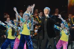Soso Pavliashvili. MOSCOW, RUSSIA - FEBRUARY 27, 2014: Soso Pavliashvili - popular Georgian and Russian singer and actor.  Concert in the State Kremlin Palace Royalty Free Stock Images