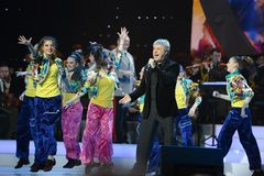Soso Pavliashvili. MOSCOW, RUSSIA - FEBRUARY 27, 2014: Soso Pavliashvili - popular Georgian and Russian singer and actor.  Concert in the State Kremlin Palace Royalty Free Stock Photo