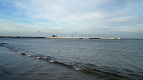Sopot pier the day before the destruction by storm Royalty Free Stock Photography