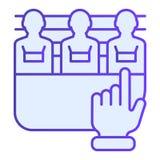 Sospechosos del icono plano del crimen Sospechosos piking iconos azules en estilo plano de moda Diseño criminal del estilo de la  stock de ilustración