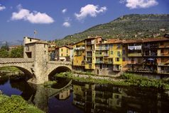 Sospel village. Going up close to the border between France and Italy sits this quaint old town on the river Stock Image