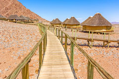 Sossus Dune Lodges in Namibia. Namib-Naukluft National Park, Namibia - April 26, 2015: Beautiful cabins in the National Park in Sossus Dune Lodges the only Stock Photography
