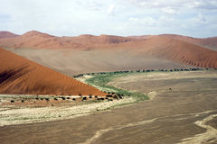Sossusvlei沙漠的鸟瞰图 免版税库存图片