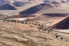Sossusvlei,纳米比亚沙丘的Airwiev  免版税库存照片