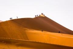 攀登沙丘Sossusvlei纳米比亚的游人 免版税库存照片