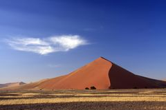 Sossusvlei Dune National park. Sossusvlei on a sunny blue sky day where the red iron oxide dunes are static stock images