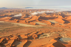 Sossusvlei dunes. Aerial view of the Sossusvlei desert in the Namib Naukluft National Park, Namibia Stock Image