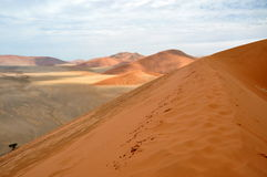 Sossusvlei dunes. Red dunes against clear blue sky. Sossusvlei, Namib desert, Namibia Royalty Free Stock Photos