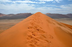 Sossusvlei dunes. Red dunes against clear blue sky. Sossusvlei, Namib desert, Namibia Stock Images