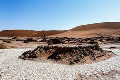 Sossusvlei härligt landskap av Death Valley, Namibia Arkivbilder