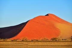 Sossusvlei, Namib Naukluft National Park, Namibia. Beautiful landscape with big red dunes and trees at sunrise, Sossusvlei, Namib Naukluft National Park, Namibia stock image
