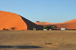 Sossusvlei, Namibia, Africa. Sossusvlei, Namibia - JAN 29, 2016: Tourists cars near Dune No.45 at sunrise, most popular dune in the whole World, Namibia, Africa stock photos