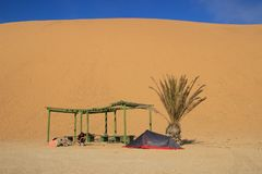The highest sand dunes in the world at sunset in the Namib Desert, in the Namib-Nacluft National Park in Namibia. Camping with a royalty free stock photos