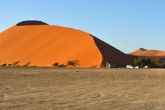 SOSSUSVLEI, NAMIBIA, DUNE 45. SOSSUSVLEI, NAMIBIA - JAN 29, 2016: Tourists climb Dune No.45 at sunrise, most popular dune in the whole World, Namibia, Africa royalty free stock photography