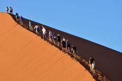 SOSSUSVLEI, NAMIBIA, DUNE 45. SOSSUSVLEI, NAMIBIA - JAN 29, 2016: Tourists climb Dune No.45 in a year that was declared as a drought year by the government in Royalty Free Stock Image