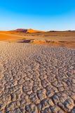 Sossusvlei Namibia, podróży miejsce przeznaczenia w Afryka Piasek diuny i gliny solankowa niecka z akacjowymi drzewami, Namib Nau Fotografia Stock