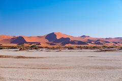 Sossusvlei Namibia, podróży miejsce przeznaczenia w Afryka Piasek diuny i gliny solankowa niecka z akacjowymi drzewami, Namib Nau Obrazy Royalty Free