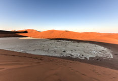 Sossusvlei, Namibia. Sossusvlei (sometimes written Sossus Vlei) is a salt and clay pan surrounded by high red dunes, located in the southern part of the Namib Royalty Free Stock Photos