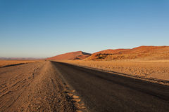 Sossusvlei. Panorama trought red dunes from Sesriem to Sossusvlei, Namibia Stock Image