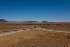Sossusvlei. Panorama trought red dunes from Sesriem to Sossusvlei, Namibia Stock Images