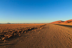Sossusvlei. Panorama trought red dunes from Sesriem to Sossusvlei, Namibia Royalty Free Stock Images