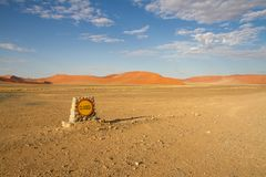 Sossusvlei park. A closed off-road  in the sSossusvlei park, Namibia Royalty Free Stock Photography