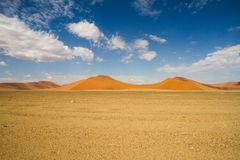 Sossusvlei park, Namibia. The red sand dunes  of Sossusvlei park, Namibia Royalty Free Stock Photos