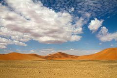 Sossusvlei park, Namibia. The red sand dunes  of Sossusvlei park, Namibia Stock Images