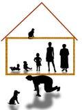 Sostén económico de la familia y toma del hombre a las familias enteras Stock de ilustración