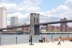 Sosta del ponte di Brooklyn a New York City immagine stock libera da diritti